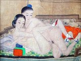 Homosexuality as a theme in traditional Chinese art is not common and almost always representative of male homosexualty (the 'Way of the Cut Sleeve' or the 'Bitten Peach'. Lesbians and Lesbianism as a theme is still more unusual, and this painting was probably done to titillate men. Today (21st century) Chinese lesbians usually call themselves lazi (lāzi) or lala (lālā). These two terms are abbreviations of the transliteration of the English term lesbian. These slang terms are also commonly used in Mainland China.